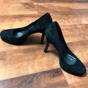 Black BCBG suede heels